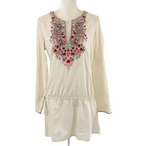 Zara Woman Ivory Boho Embroidered Tunic Top L